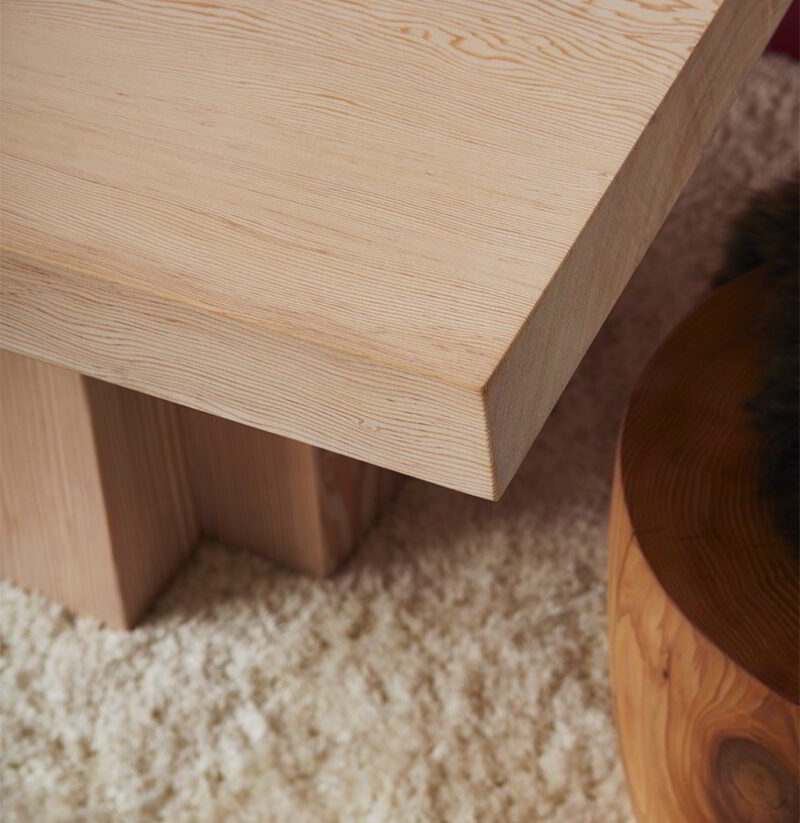Cropped photo of the Soma pedestal and T-Cup on a shag rug.