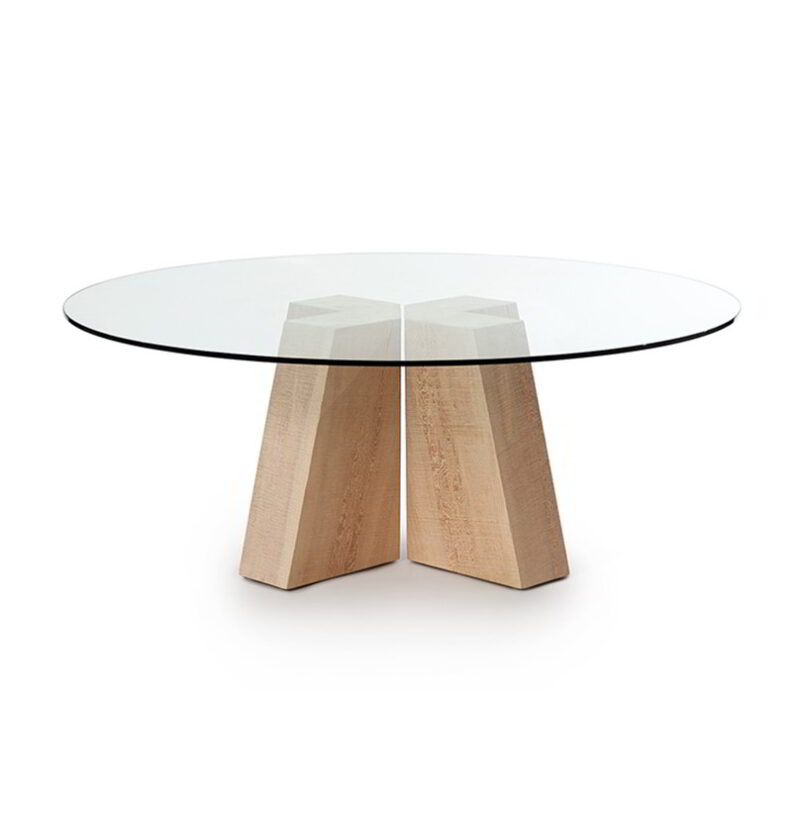 The Sweep Double Pedestal with a glass top, against a white background.