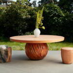Island dining table with two T-Cups. Finished in clear hardwax oil.