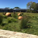 Three solid spheres in a grassy landscape.