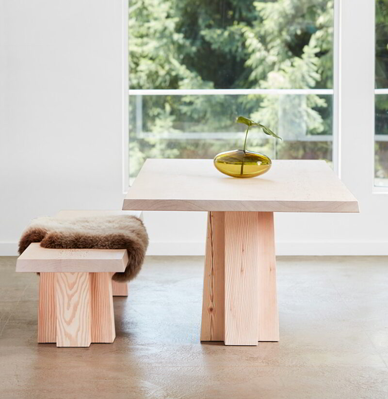 The Soma bench and Soma dining table.