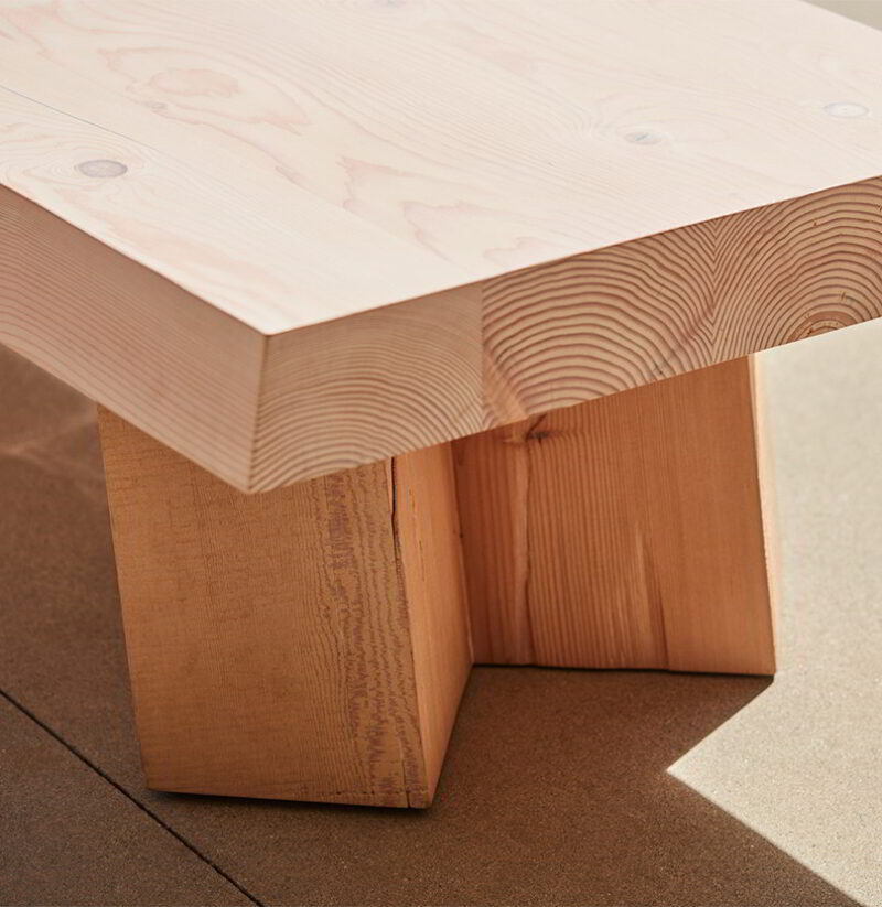 Detail photo of the Sweep bench.