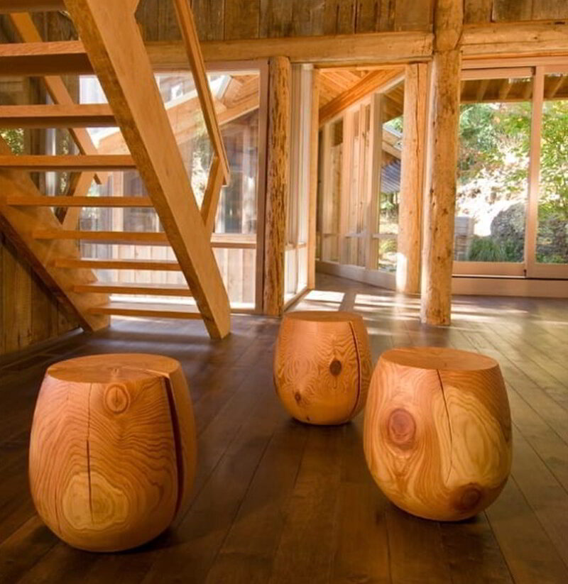 Three T-Cups in a log cabin.