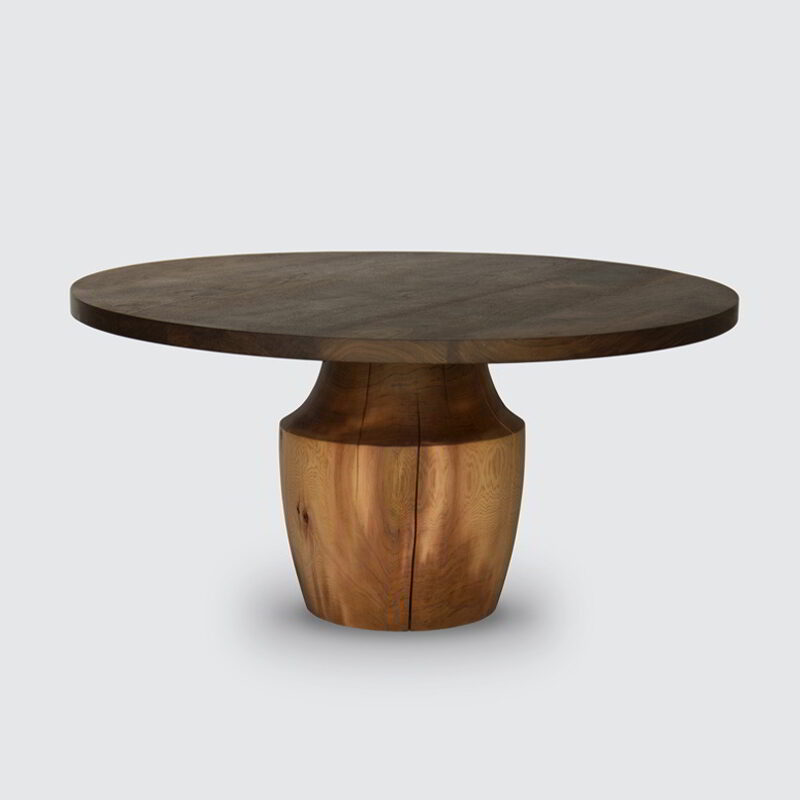 Chelsea table with a Western Red Cedar base and Thermalwood top against a white background.
