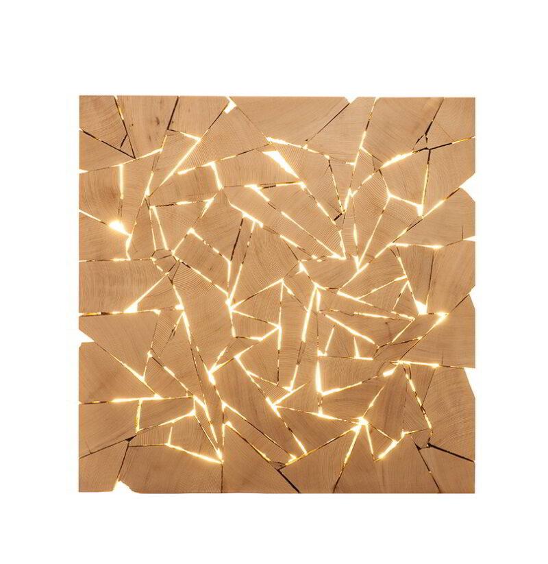 illuminated shattered square on a white background.