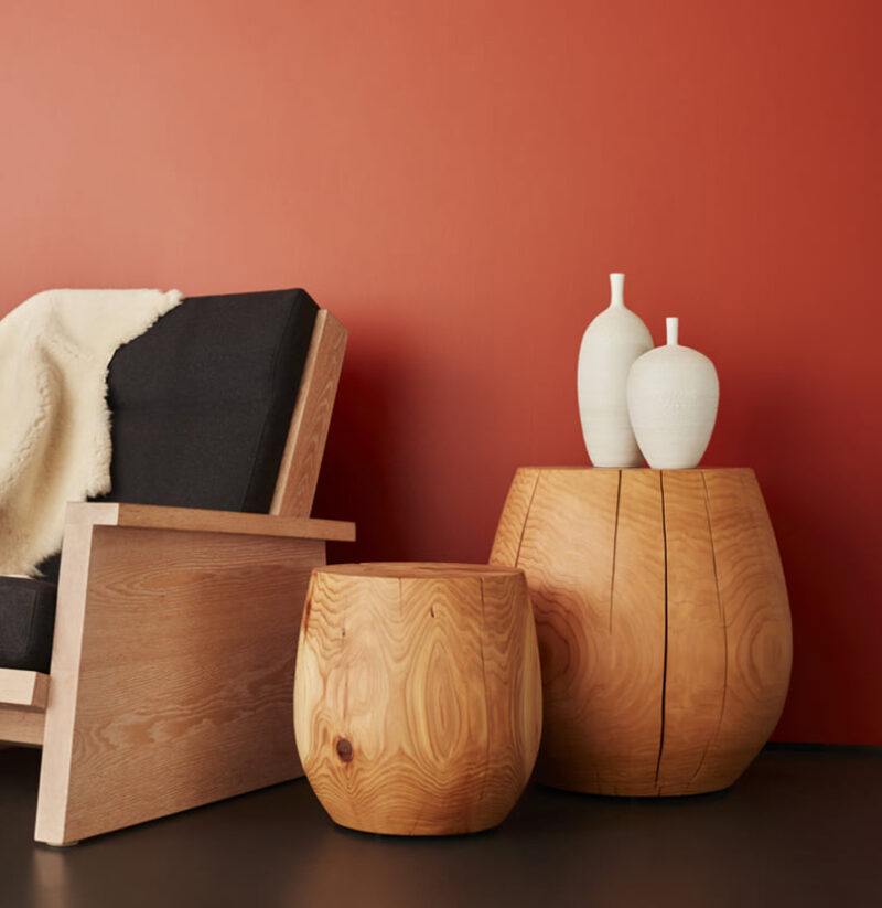 A cropped photo of two T-Cups and a Pesuta chair.