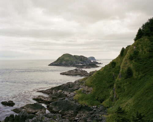 Looking southward from Cape St. James towards the southern tip of Gwaii Haanas. Kerouard Islands.