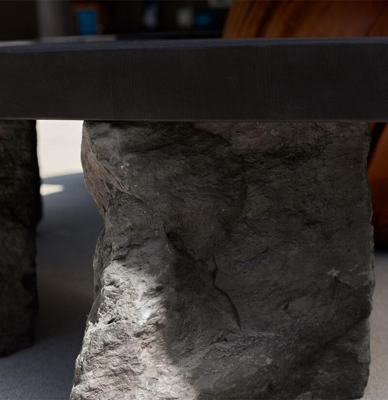 Detail photo of the Island Bench's Basalt legs.