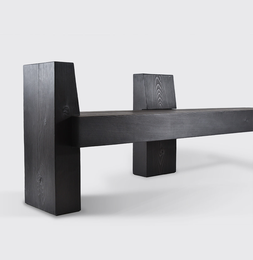 The beton brut bench is pictured against a white background